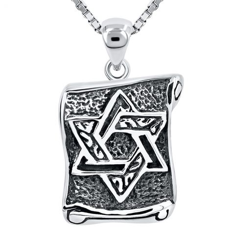 Star of David' on Scroll Oxidized Silver Pendant - Made in Israel