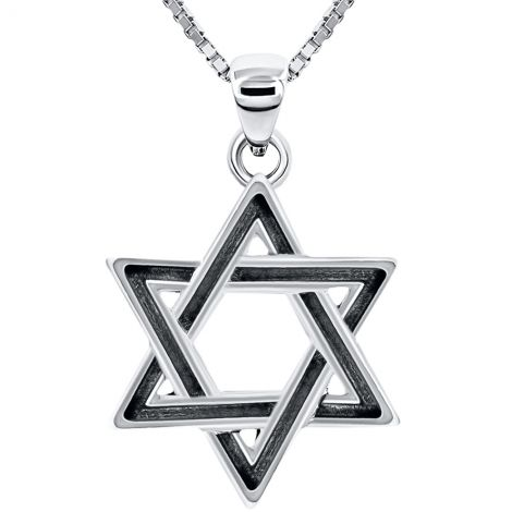 Star of David' Oxidized Silver Pendant - Made in Israel - Interwoven