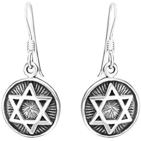 'Star of David' Round Sterling Silver Oxidized Earrings from Israel