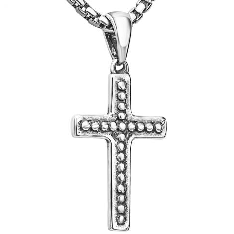 ✟ Sterling Silver Studded Cross 2 Sided Necklace