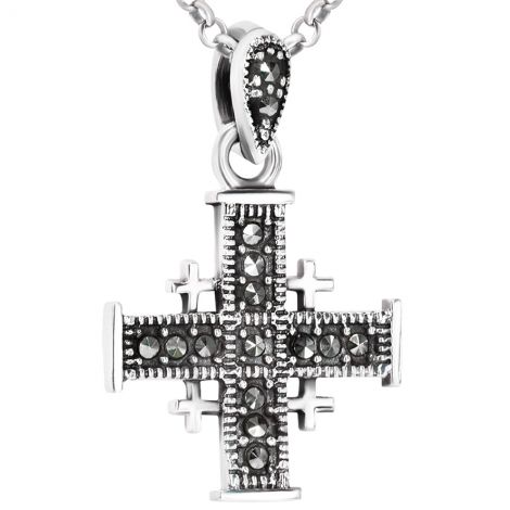 Sterling Silver 'Jerusalem Cross' Pendant Embedded with Marcasite