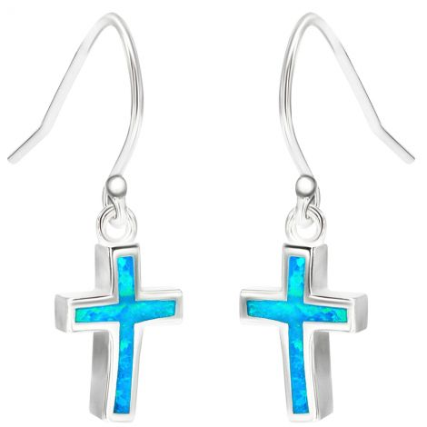 Classic Sterling Silver Cross Earrings with Real Opal - Made in Jerusalem