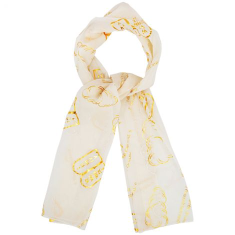 Ten Commandments' in Hebrew / English - Prayer Scarf - White and Gold
