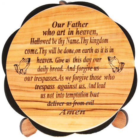 'The Lord's Prayer' Olive Wood Free Standing Ornament