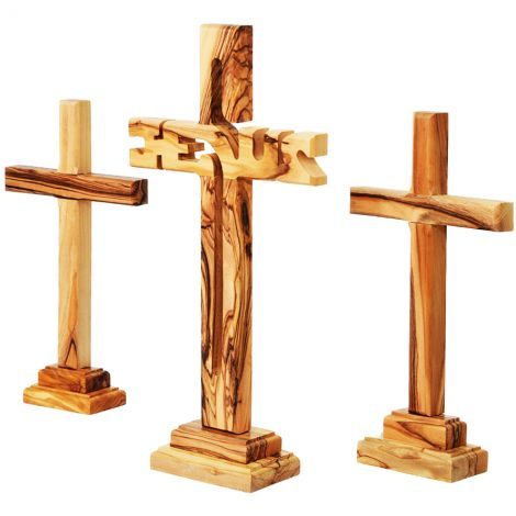 The Three Crosses on Calvary - 'Jesus Cross' Carved from Olive Wood