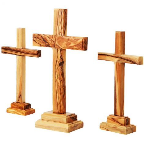 The Three Crosses on Calvary in Olive Wood from the Holy Land