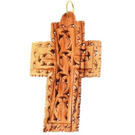 """""""The True Vine"""" Olive Wood Carved Wall Hanging Cross - 3.5"""""""