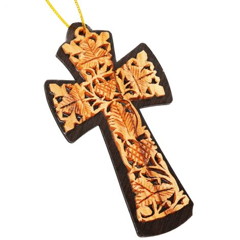 """The True Vine"" Olive Wood Carved Wall Cross - Made in Israel"