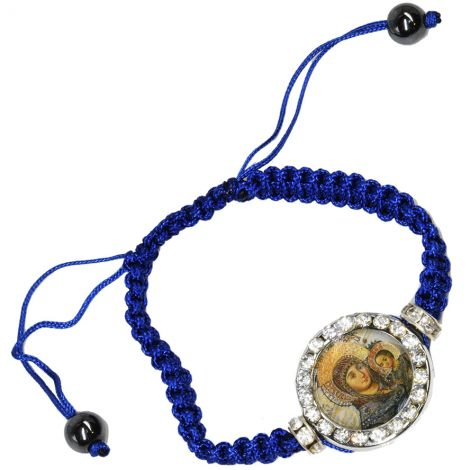Blessed Virgin Mary and Baby Jesus' Icon on Blue Cotton Bracelet