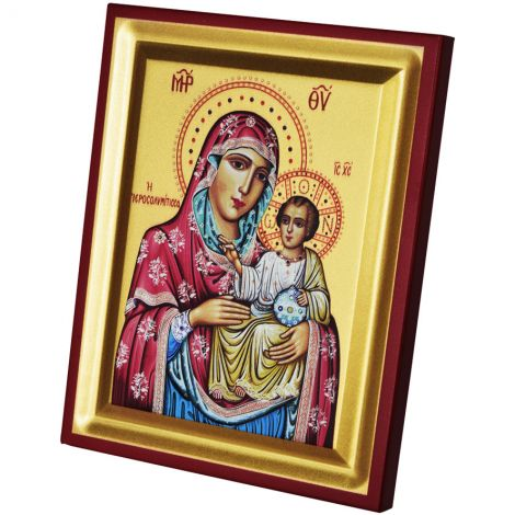 The Virgin Mary and Jesus - Replica Byzantine Icon - Silk Screen on Wood (Large)