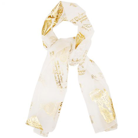 Womans Scripture Scarf 'Pray for the Peace of Jerusalem' - White