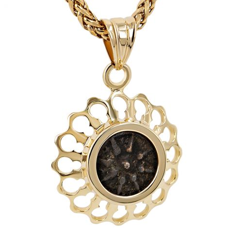 New Testament Widow's Mite Coin in 14k Gold Flower Design Pendant
