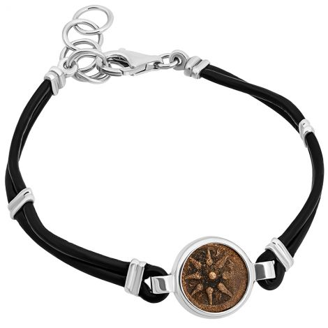 Biblical Widow's Mite Coin Bracelet - Leather and Sterling Silver - Made in Israel