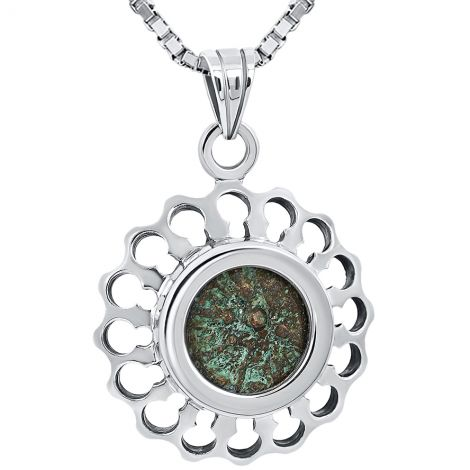 Widow's Mite Coin from Jesus in Flower Design Silver Pendant