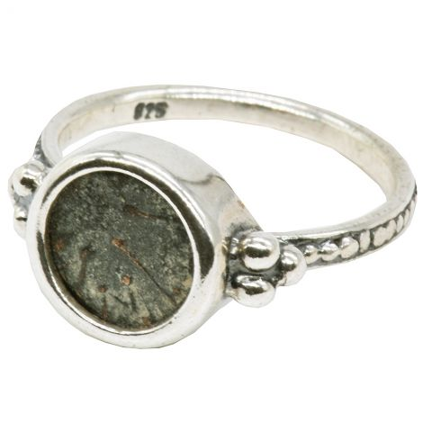 "Authentic ""Widow's Mite"" Coin in Ornate Silver Ring - Made in Israel"