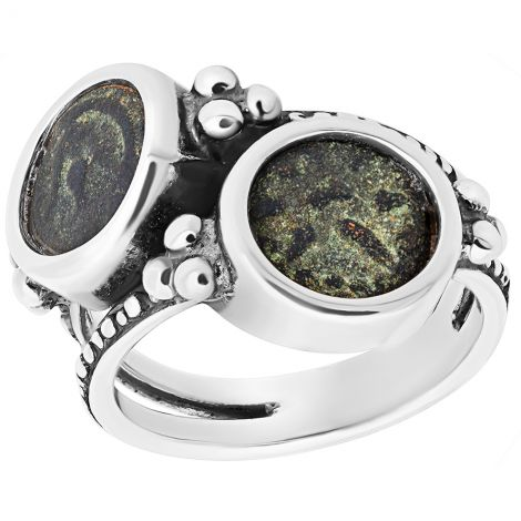2 in 1 Ring - Widow's Mite Biblical Coins set in Sterling Silver Ring