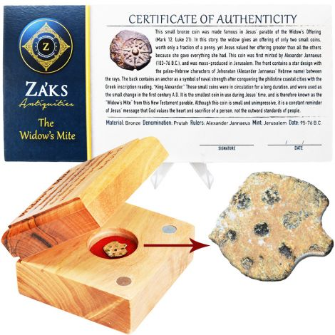 Authentic Widow's Mite Coins in Engraved Olive Wood Box
