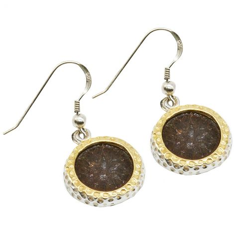 Widow's Mite Coins set in 925 Silver and Gold Plate Earrings