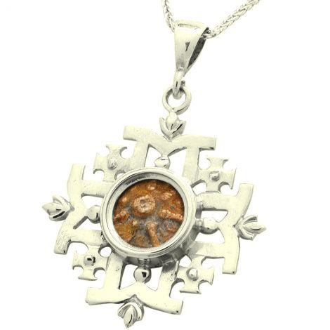 Genuine Widow's Mite Coin set in a 'Jerusalem Cross' Silver Pendant