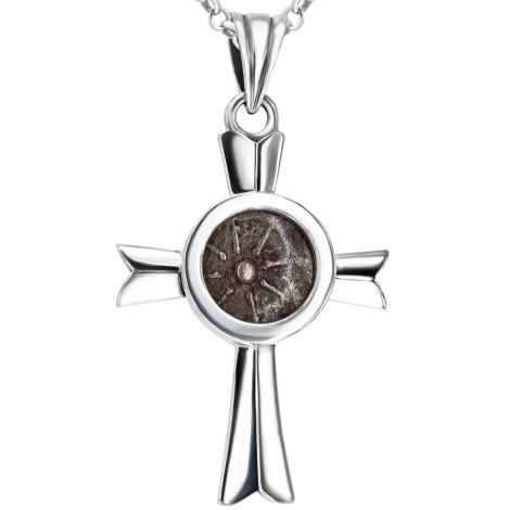 Sterling Silver Cross with Authentic 'Widow's Mite' Coin Pendant