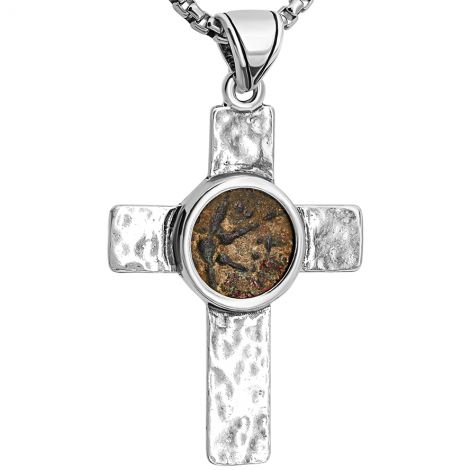 Rugged Cross with an Authentic Biblical 'Widow's Mite' Coin Silver Pendant