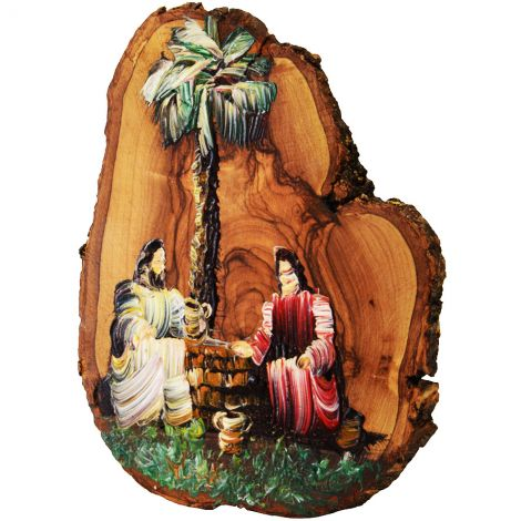 Jesus and Woman at the Well - Oil Painting on Olive Wood Slice