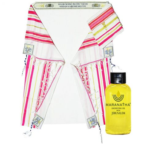 Woman of Faith Messianic Prayer Shawl with Anointing Oil - Pink