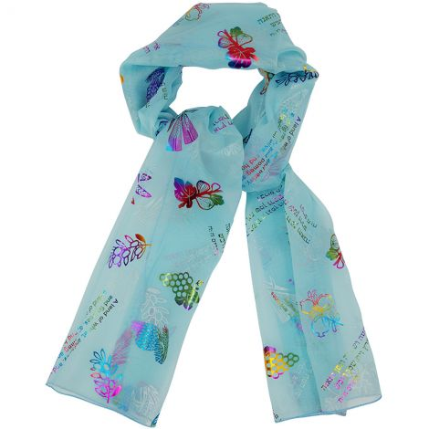 """Seven Species"" Scripture Scarf for Christian Women - Light Blue"