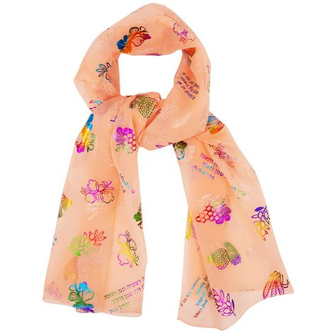 "Woman's ""Seven Species"" Scripture Scarf from Israel - Peach"