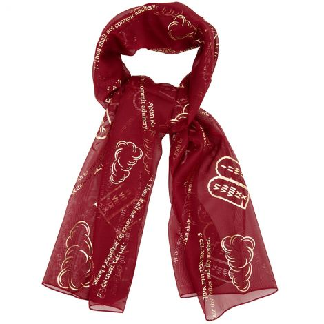 'Ten Commandments' in Hebrew - Woman's Scripture Scarf - Burgundy