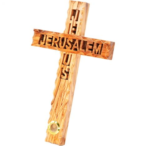 """'Jesus - Jerusalem' Carved Wooden Wall Cross with Incense - 8"""""""