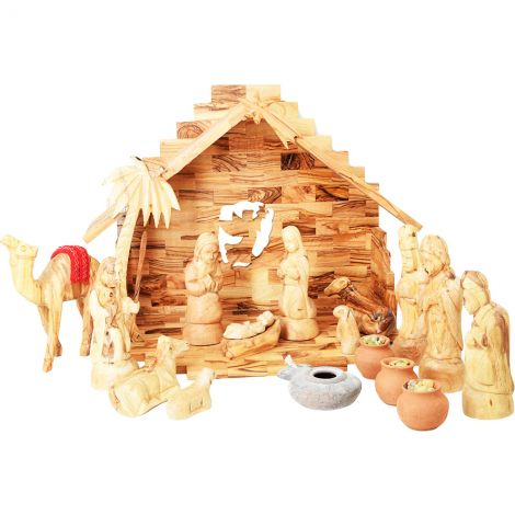 Wooden Christmas Nativity Set + Wise Men Gifts, Camel & Clay Lamp