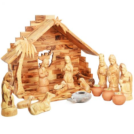 Wooden Christmas Nativity Set + Wise Men Gifts & Clay Lamp