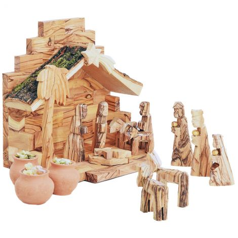 Wooden Nativity Scene - Wise Men Gifts in Clay Pots - Bark Roof