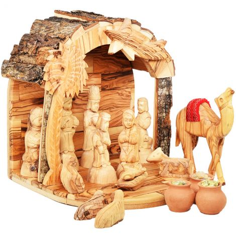 Bark Roof Wooden Nativity Set with Camel + Wise Men Gifts (side view)