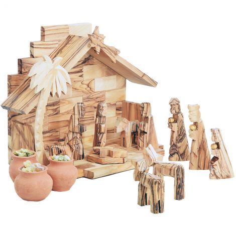 Wooden Christmas Nativity featuring Wise Men Gifts in Clay Pots