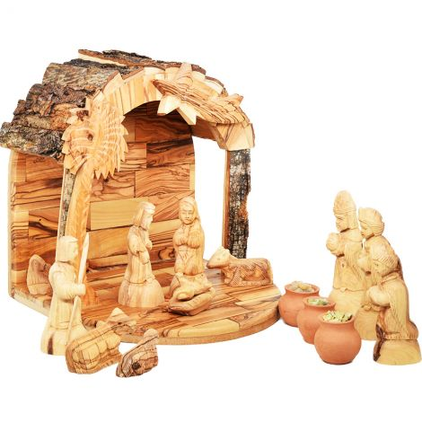 """Wooden Nativity Set with Bark Roof + Wise Men Gifts - 10"""" High"""