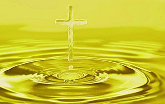 Anointing oil pool with cross