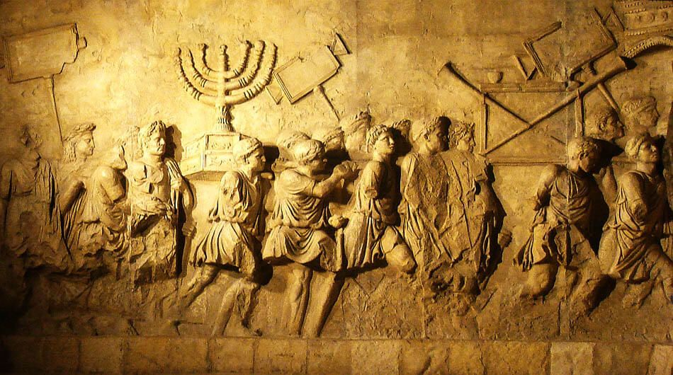 Depiction of the Menorah on a modern replica of the Arch of Titus in Rome