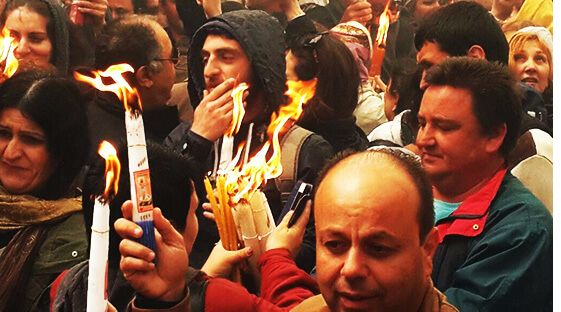 Holy Fire celebration at the Church of the Holy Sepulchre