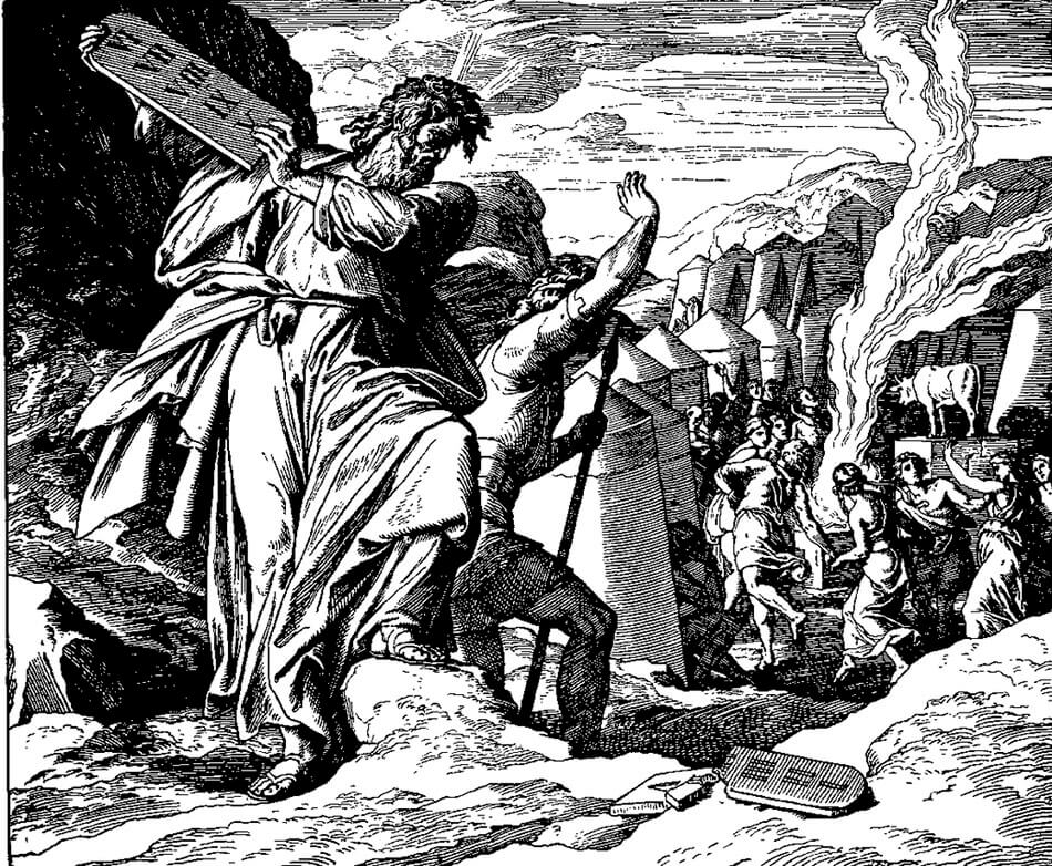 Moses breaks the Ten Commandments in response to the golden calf worship in this 1860 woodcut by Julius Schnorr von Carolsfeld.