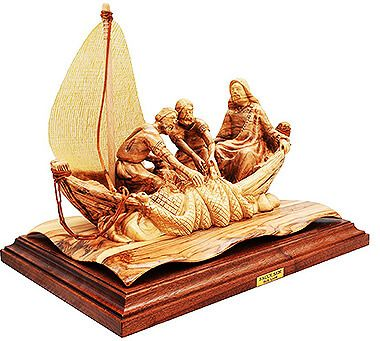Olive Wood Boat with Jesus