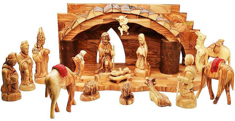 Olive wood nativity - Jerusalem shop