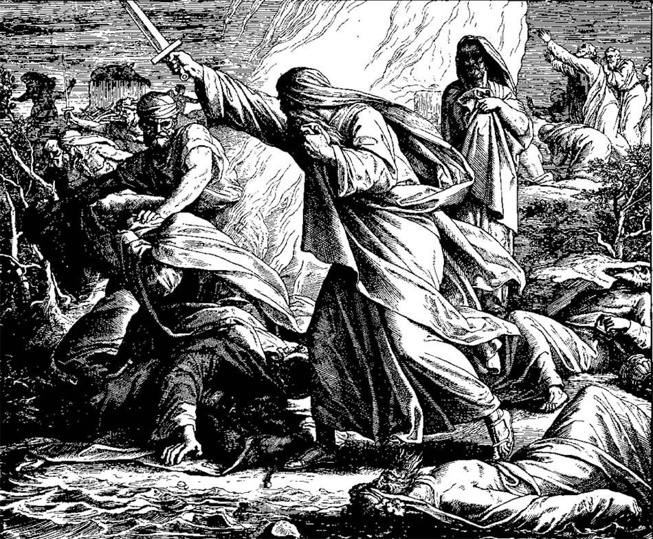 Slaughter of the Prophets of Baal, 1860 woodcut by Julius Schnorr von Karolsfeld