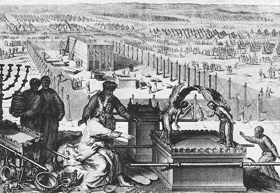 The erection of the tabernacle and the Sacred vessels, as in Exodus 40:17–19; from the 1728 Figures de la Bible